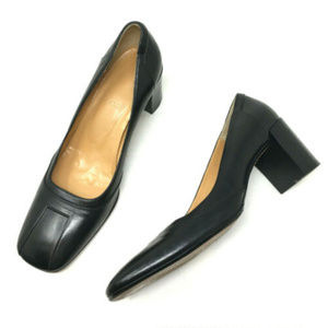 Bally Cervia Black Leather Square Toe Chunky Heels